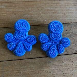 Beaded Flutter Statement Earrings periwinkle blue